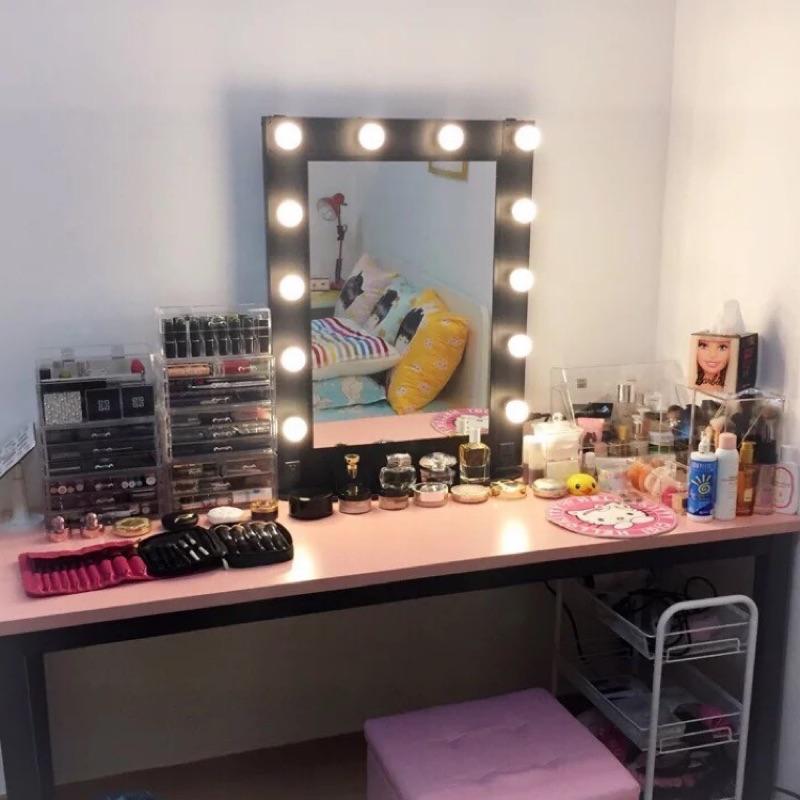 好萊塢復古化妝鏡彩妝LED 可調光燈泡化妝鏡鋁合金化妝臺化妝台美髮家用可掛牆