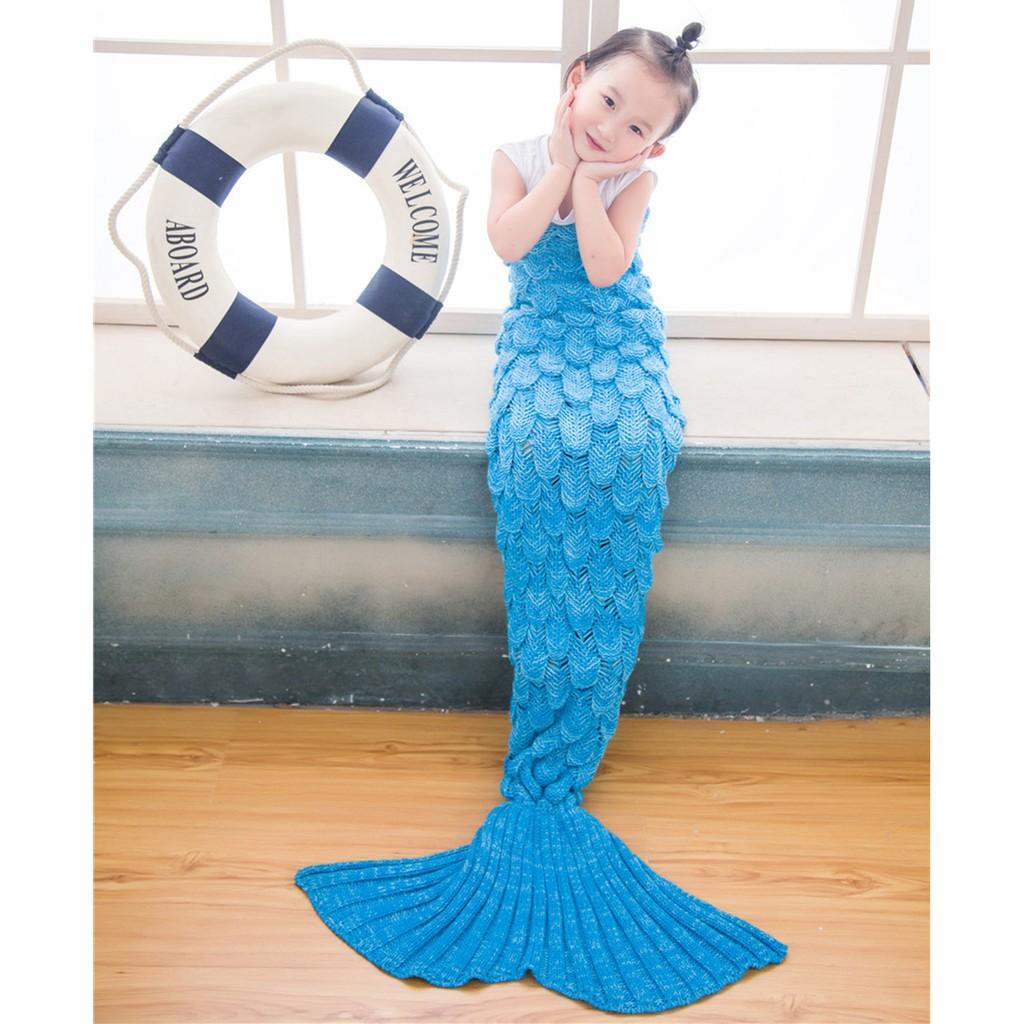 ~美人魚駕到~2016 新品兒童魚鱗 居家美人魚尾巴空調毯防踢仿羊絨毛線保暖毯睡袋