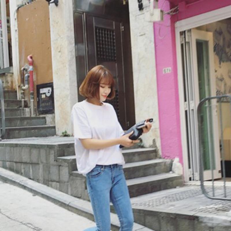 ~ ~圓領寬鬆短袖T 恤女學生顯瘦寬鬆簡約純色純棉打底衫上衣