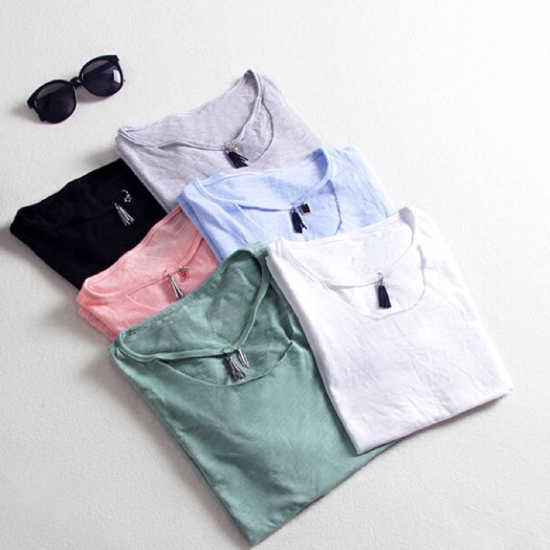 純棉短袖 寬鬆圓領夏裝學生純色體恤韓範上衣韓國女士t 恤
