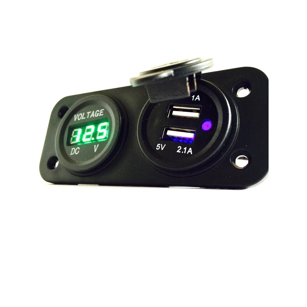 雙孔USB 電壓表直流電壓錶電壓表崁入圓形方形LED 超薄機車汽車迷你12V 12 電瓶充