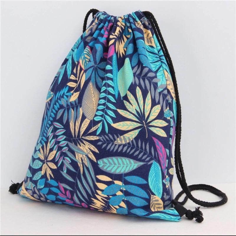 [Dorara ]民族風情侶郊遊帆布葉子樹葉抽繩束口袋雙肩包後背包海灘包舞蹈包束口包