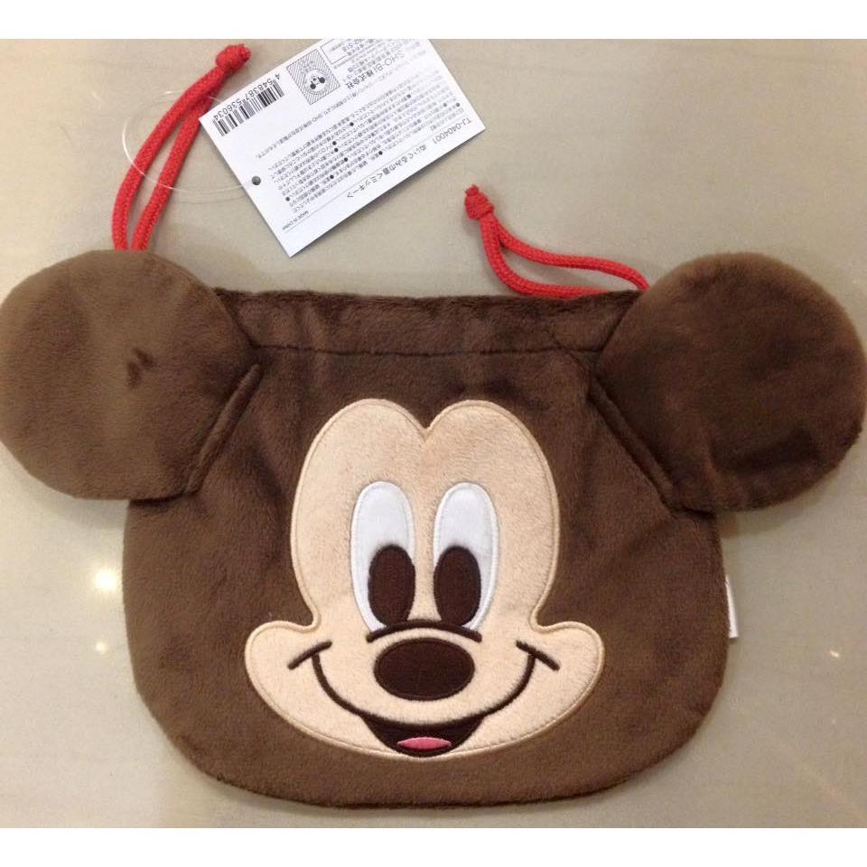 阿虎會社~A 610 ~日貨 迪士尼米奇米老鼠mickey 大臉款束口袋收納袋相機袋可裝拍