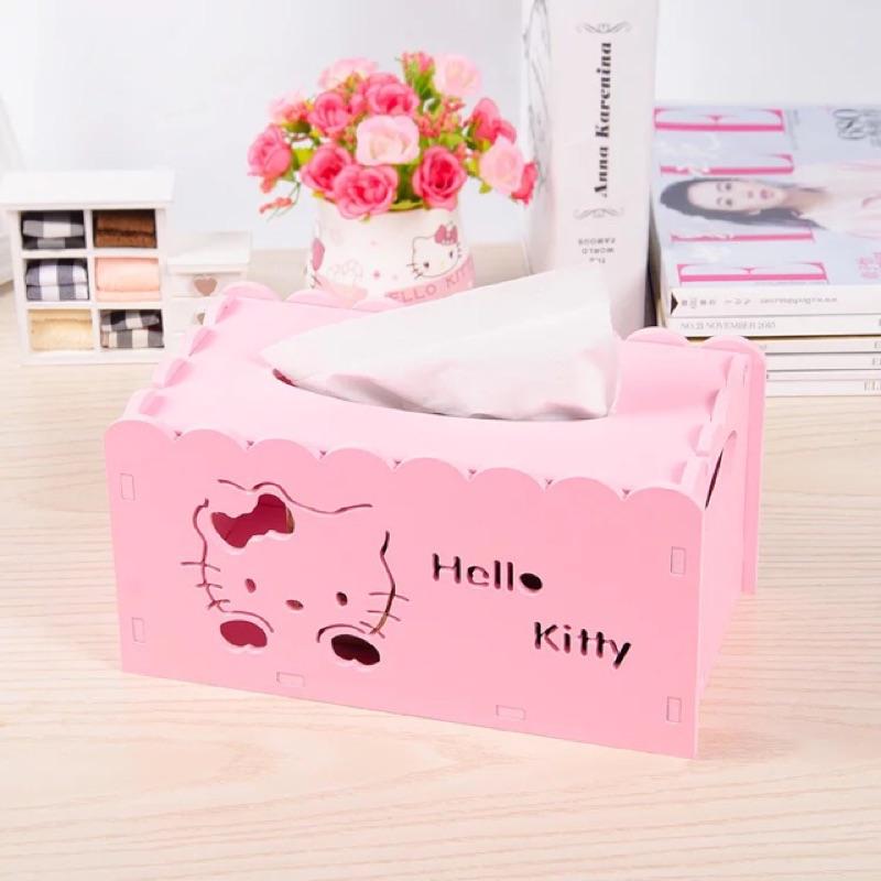 Hello kitty 木塑板紙巾盒鏤空雕花紙巾抽桌面收納整理盒抽紙盒