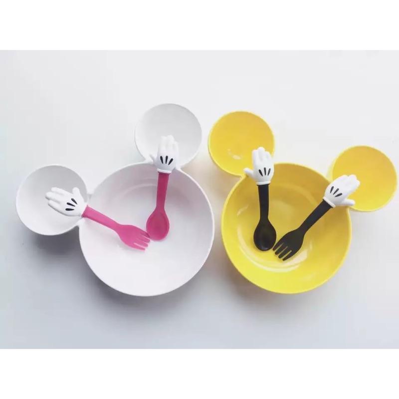 ⭕️ins 同款兒童餐具餐盤米老鼠奇手掌勺子叉子卡通餐具寶寶訓練輔食叉勺套裝