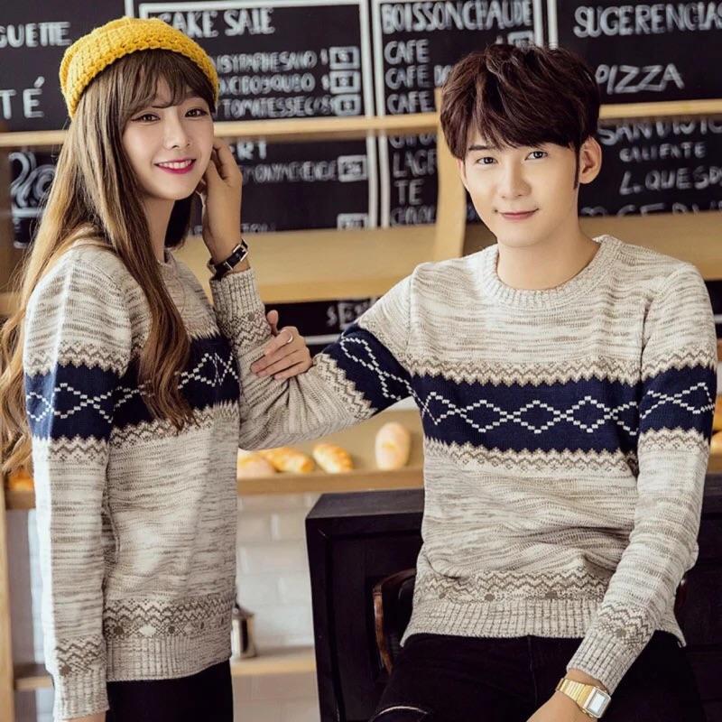 秋 學院風情侶裝圓領套頭毛線衣青少年加絨毛衣學生加厚針織衫