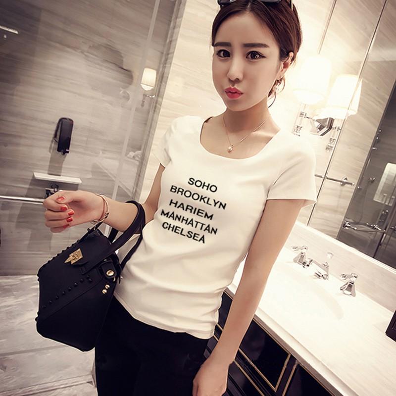 下殺韓國 簡約字母印花白色休閒T 恤CR0248
