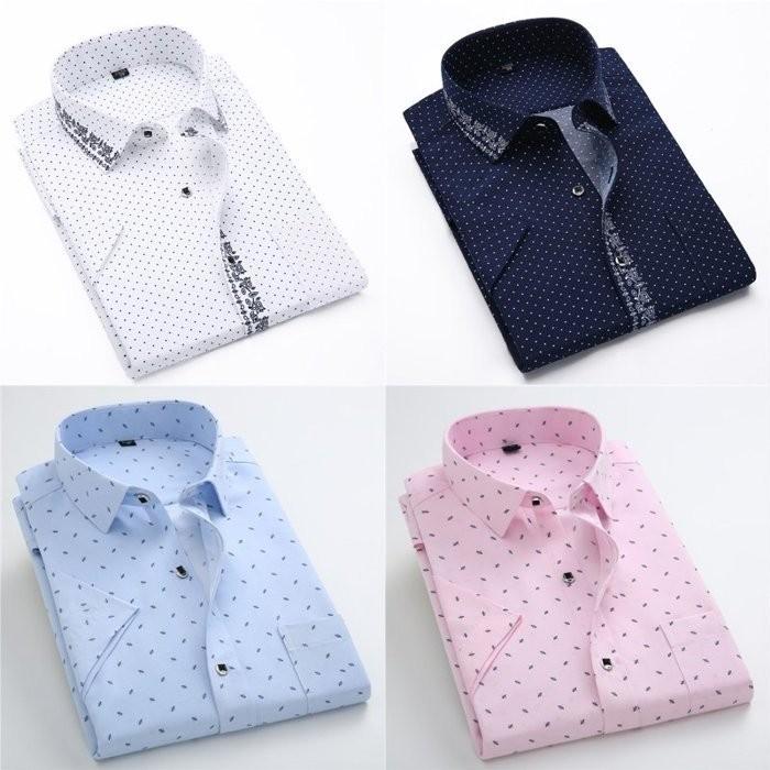 2016 尚流界新品男士短袖印花襯衫波點碎花商務 襯衣大碼襯衫