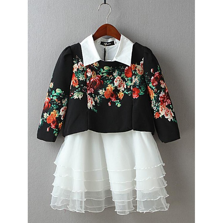 IvyBaby 實品拍攝復古典雅神秘感中國風水墨印花圖騰短版上衣清新純色襯衫領層次澎裙背心