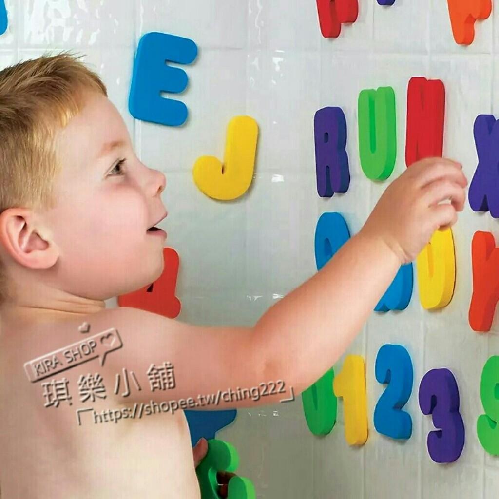 ~琪樂小舖~ H86 美國Munchkin 麥肯奇洗澡字母數字磁磚貼36 片兒童益智寶寶玩