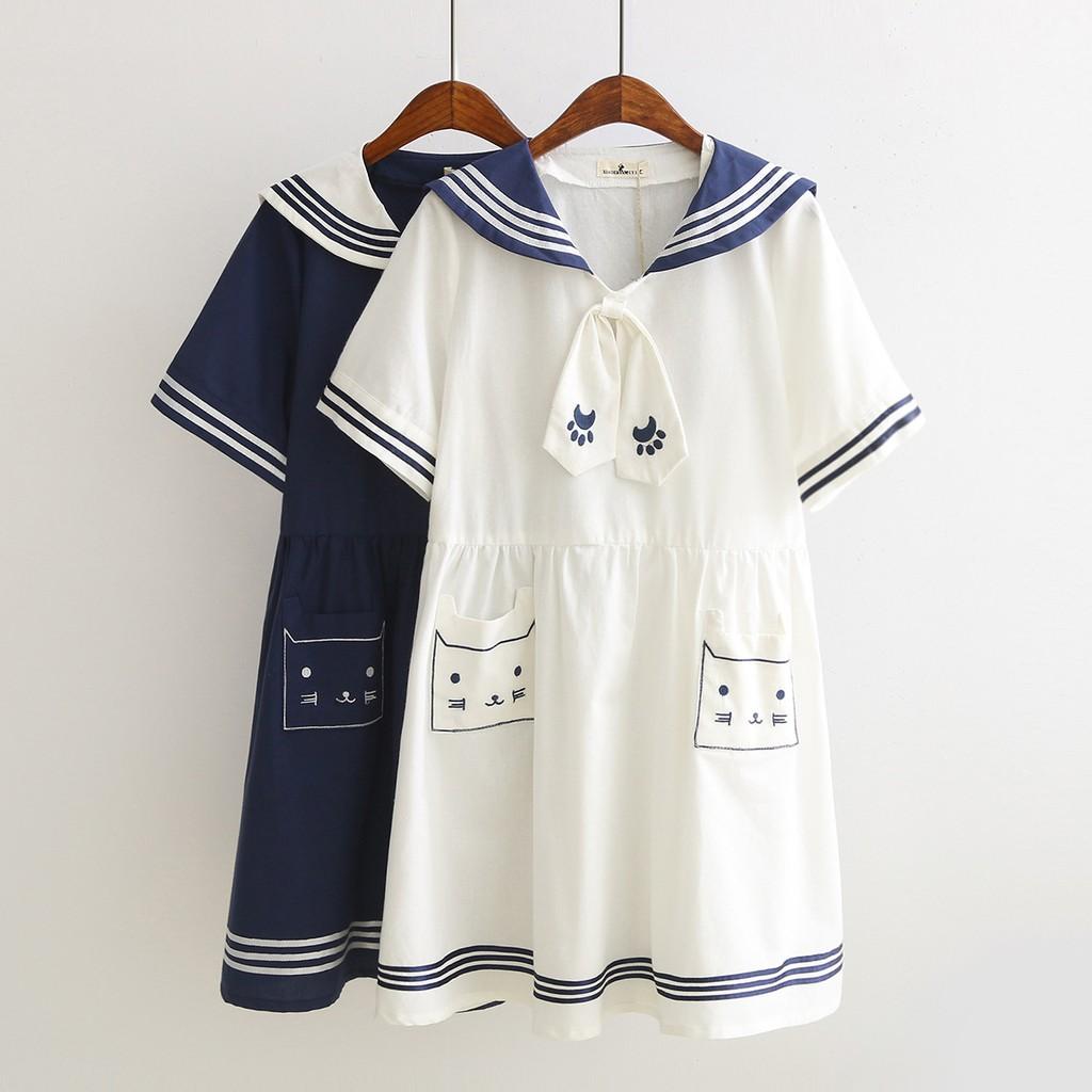 ~ω糖糖ω~日系森林系卡通可愛口袋刺繡小貓方形貓連身裙洋裝H1765