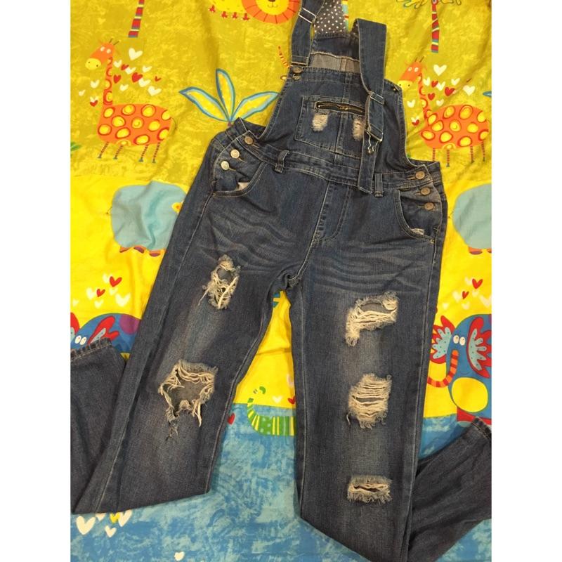 吊帶褲牛仔褲吊帶長褲牛仔長褲刷破褲吊帶長褲