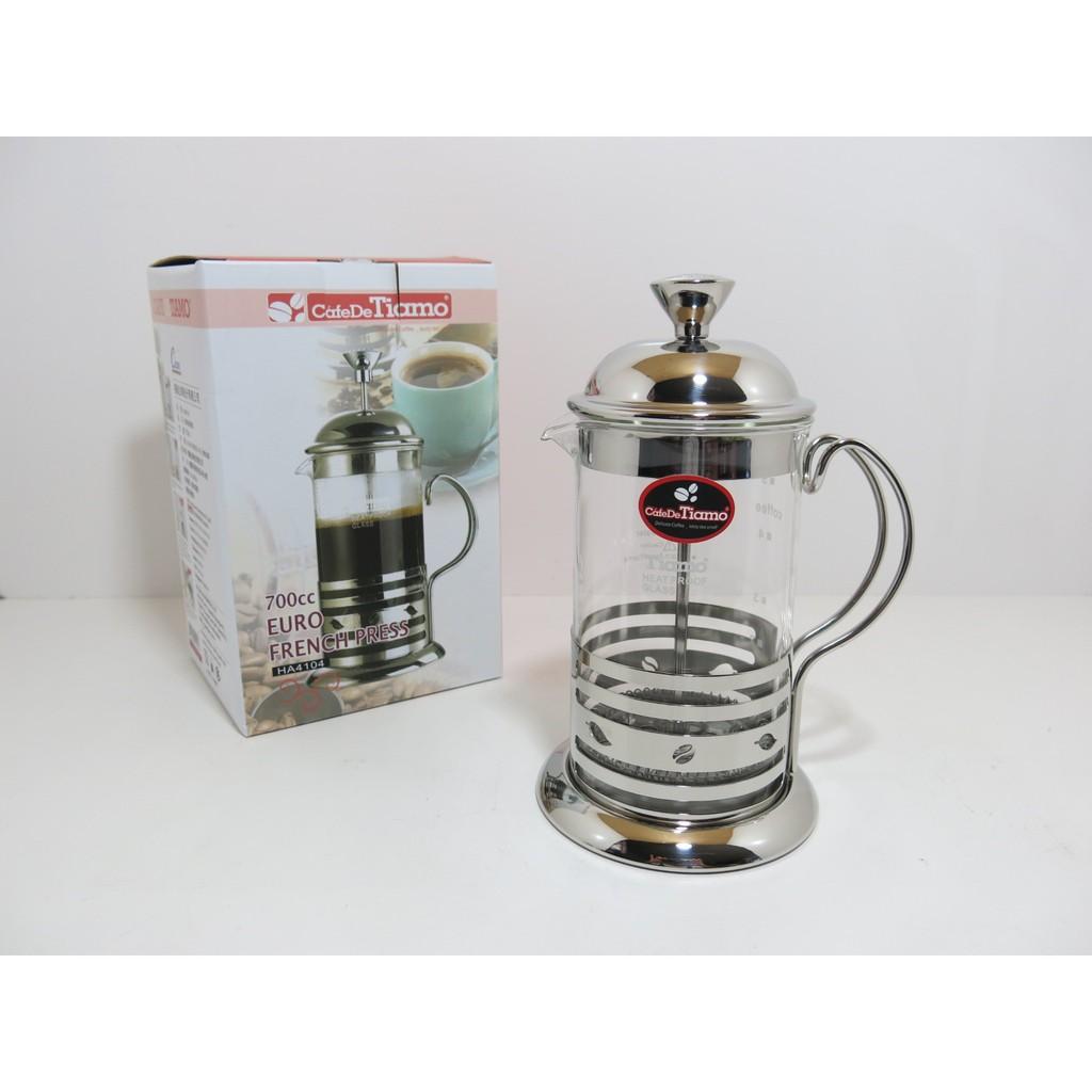 Tiamo 新歐風不銹鋼玻璃濾壓壺花茶壺700cc HA 4104 咖啡壺沖泡壺泡茶壺