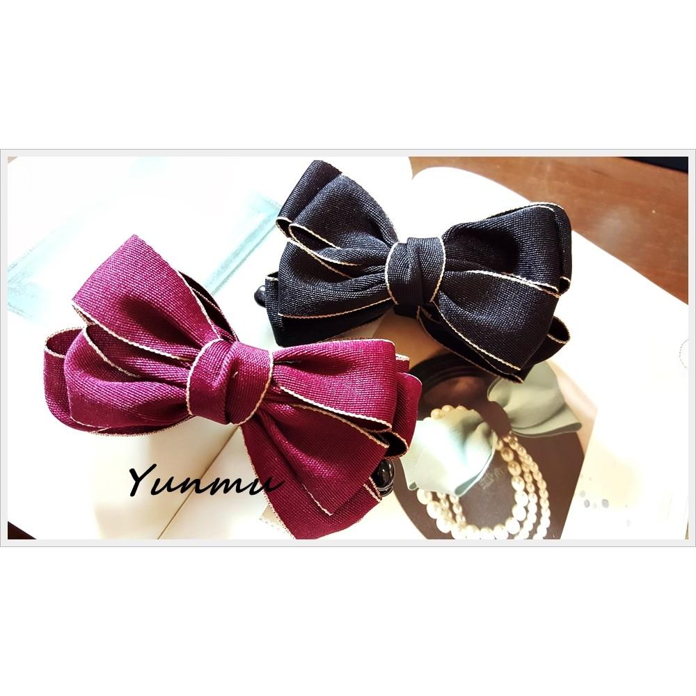 滾邊素色緞帶蝴蝶結香蕉夾髮夾1114HB400051