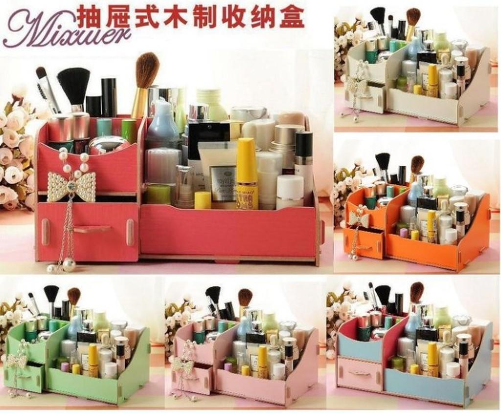 小九倉庫M16木製DIY 雙層收納箱DIY 木質化妝盒DIY 化妝盒桌面飾品收納盒多用途收