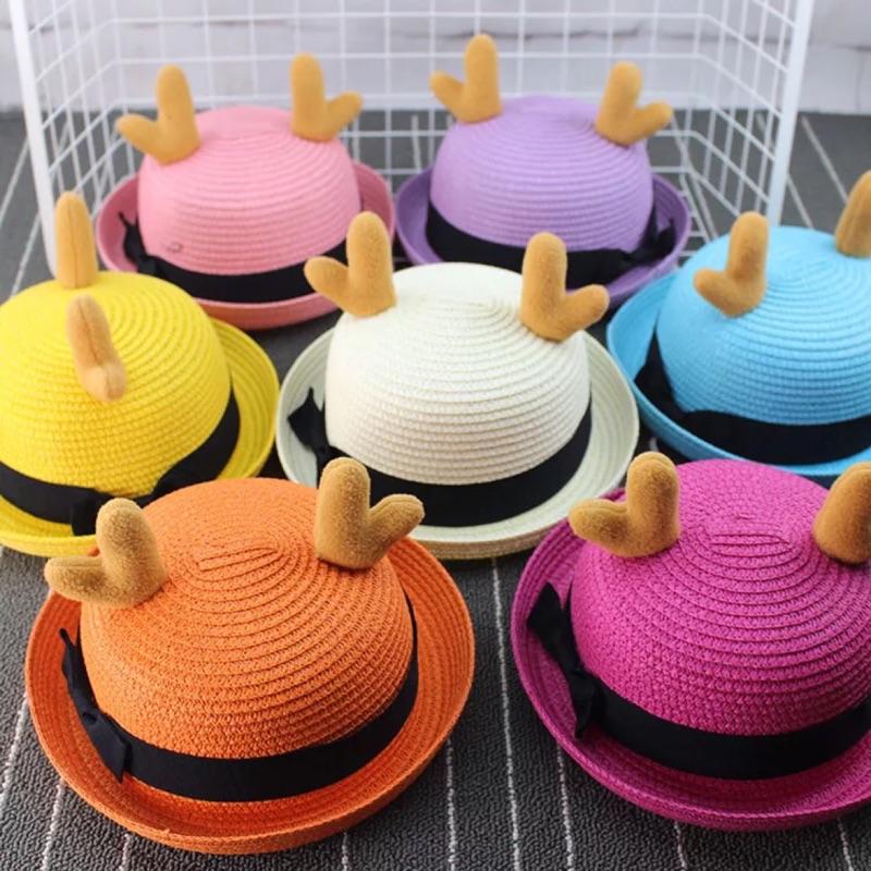 ✨ ✨ 鹿角草帽男童女童親子 帽子春夏款寶寶帽可愛遮陽帽