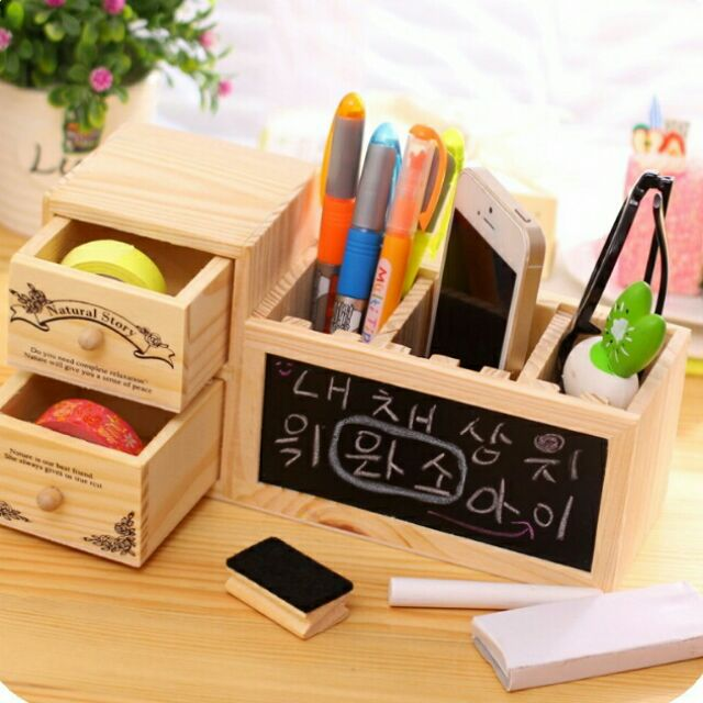 韓國木製DIY 收納盒筆筒鉛筆盒居家擺設裝飾黑板抽屜櫃子板擦粉筆