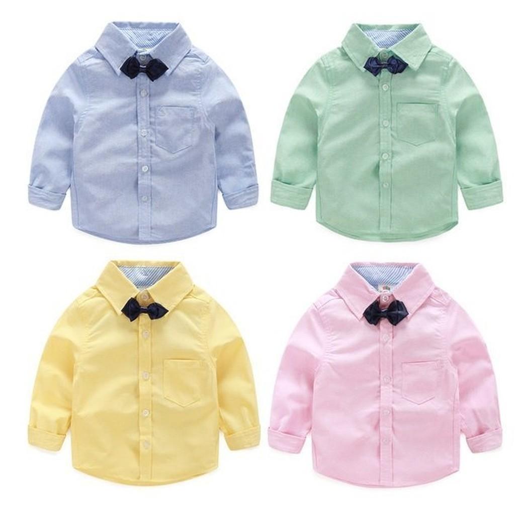 E850 韓系 男童領結襯衫小熊男寶寶兒童休閒長袖襯衫襯衣上衣MAMA 咪呀 衣鋪