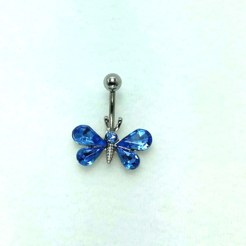 韓款水藍晶鑽蝴蝶肚臍環t