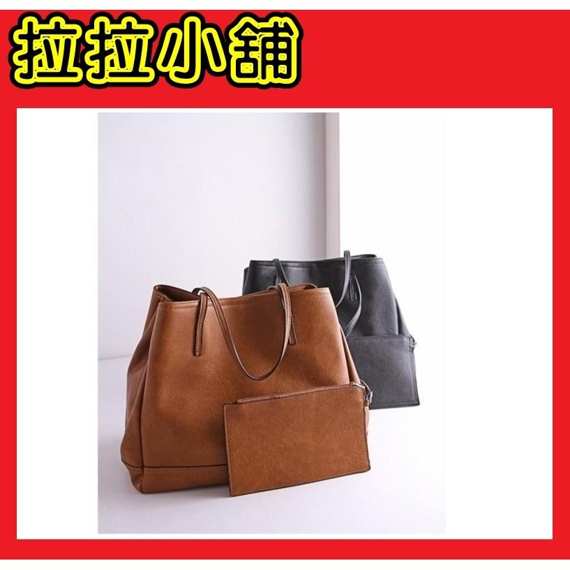 款棕色肩背手提包 托特包子母包 休閒肩包大容量學生OL 百搭