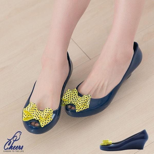 可愛點點大蝴蝶結深藍色內增高雨鞋防水涼鞋果凍鞋魚口鞋厚底鞋楔型鞋36 號