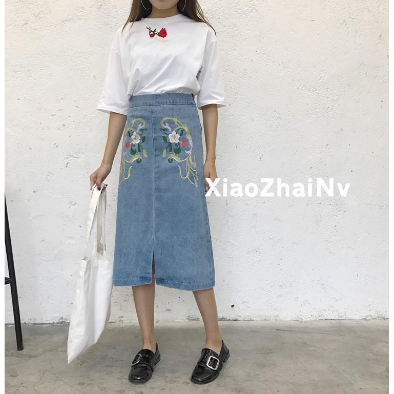 2017 夏裝 傘裙顯瘦高腰裙子半身裙修身刺繡中裙牛仔裙