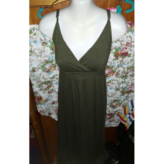 寬鬆舒適低胸露背顯瘦細肩性感休閒長洋裝長裙孕婦裝K 黃標47