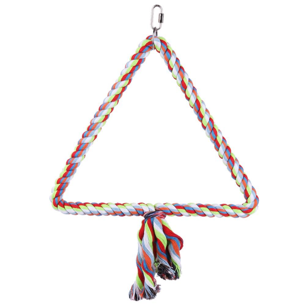 彩色棉繩鳥棲息攀爬磨喙玩具三角棉繩秋千