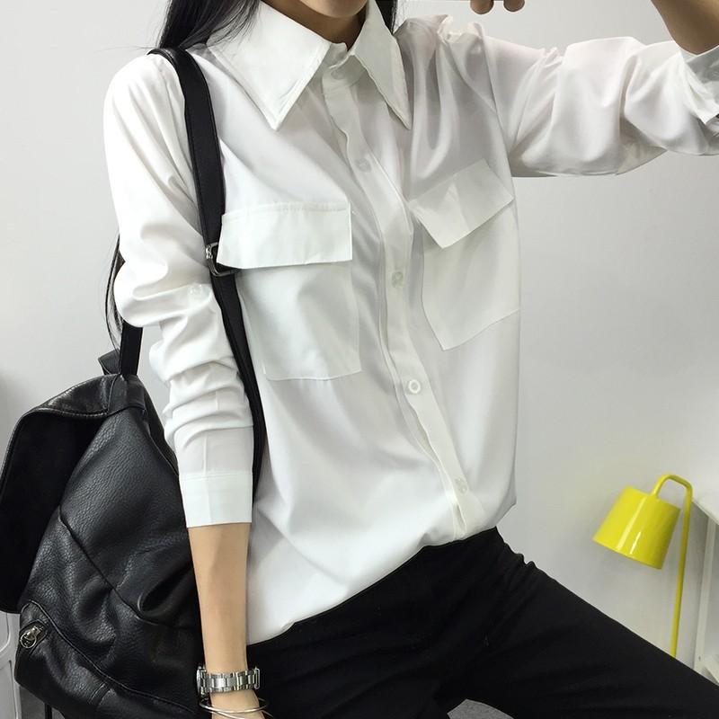▷韓風▽時代◁新品春裝新品寬松 大碼百搭純色POLO 領中長款長袖打底白襯衫女