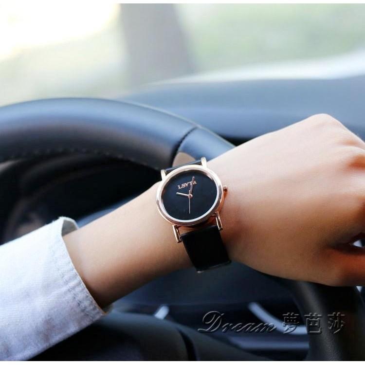 LSV 石英手錶男女士防水學生簡約手錶皮帶情侶錶女錶 男錶