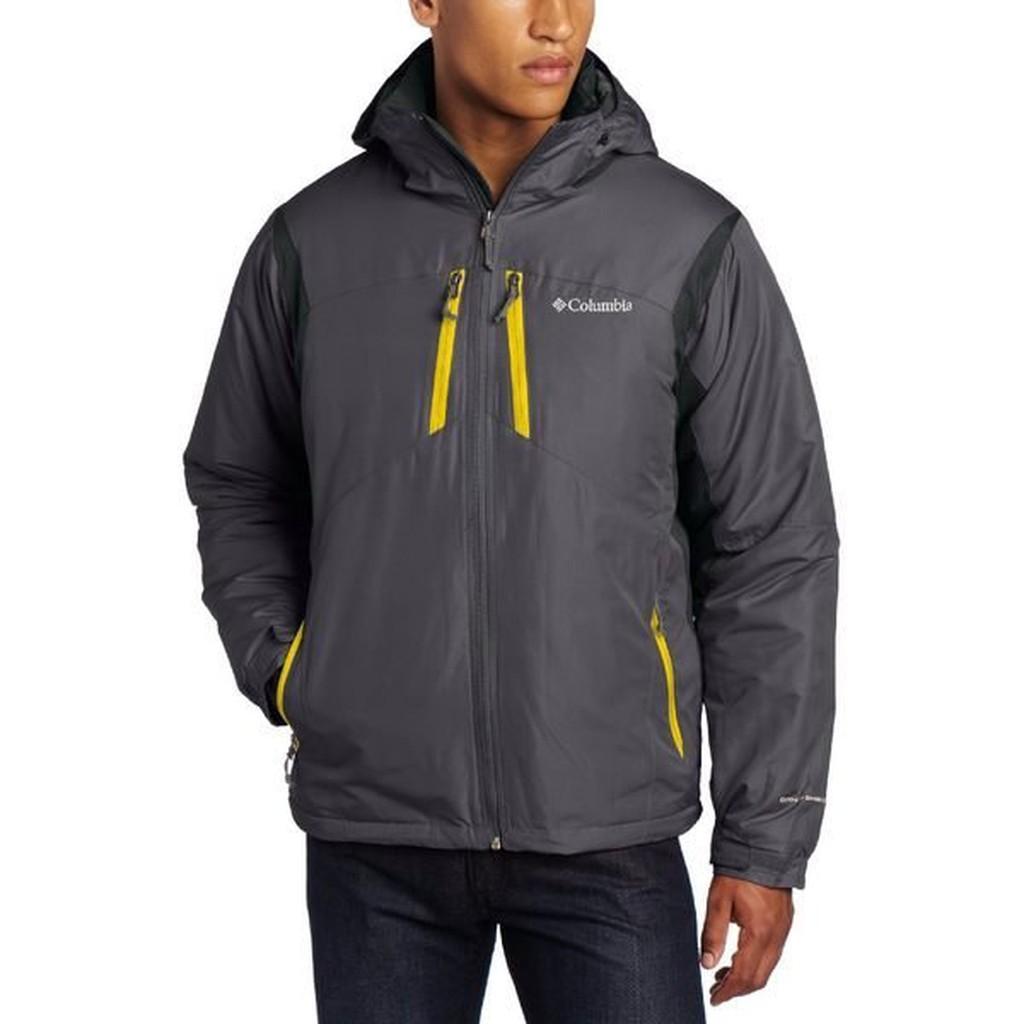 美國百分百【全新真品】Columbia 外套 哥倫比亞 夾克 連帽外套 鋪棉 防水 防風 鐵灰 男 L B764
