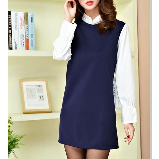 洋裝~6594 ~ 學院風簡約休閒氣質OL 甜美 款假兩件拼接襯衫修身顯瘦長袖連身裙背心裙