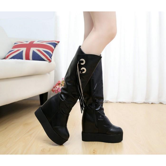 內增高坡跟皮面靴子流蘇拉鏈高筒長靴2016  潮女鞋厚底女靴短靴靴子女靴女裝