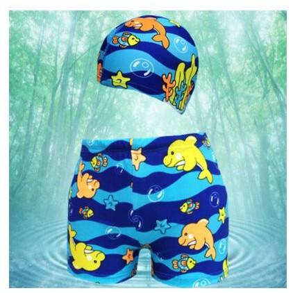 SKIN WU 的店男童兒童泳褲沙灘褲平角游泳褲溫泉褲鯨魚款送泳帽