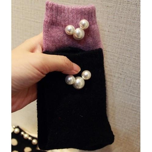 韓國東大門正品 奢華 重工釘珠大米奇頭加厚羊毛短襪子