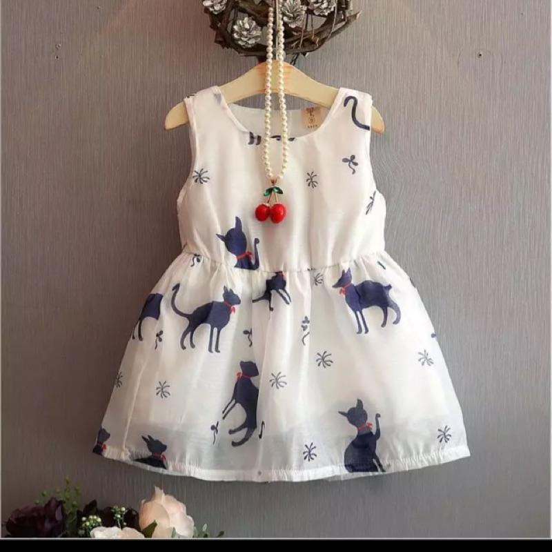 Coco 小舖( )女童貓咪白色無袖洋裝背心裙