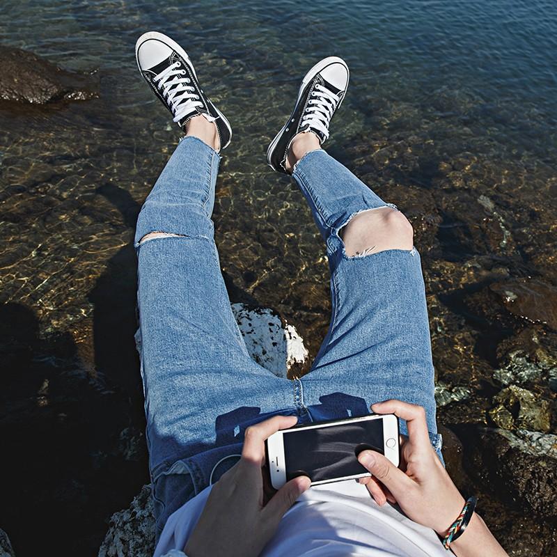 ❀四季美人❀2017 春夏簡約純色水洗毛邊九分牛仔褲韓國百搭修身破洞小腳褲男潮