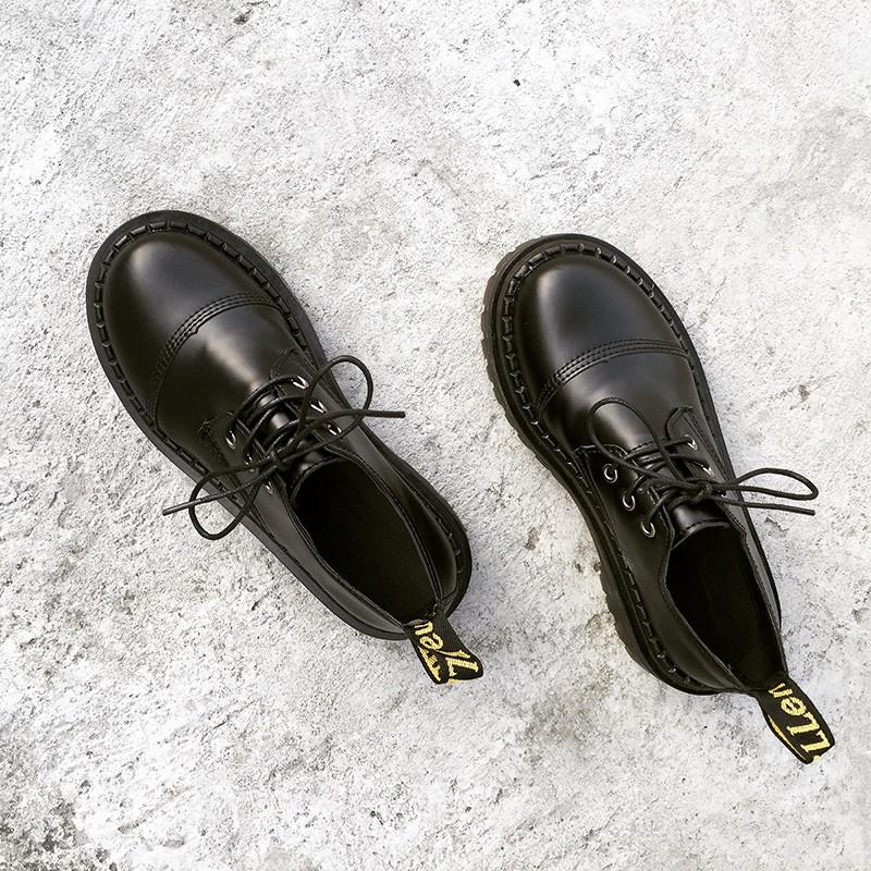 2017 春復古圓頭系帶馬丁鞋女學生英倫風百搭修身顯瘦厚底小皮鞋潮