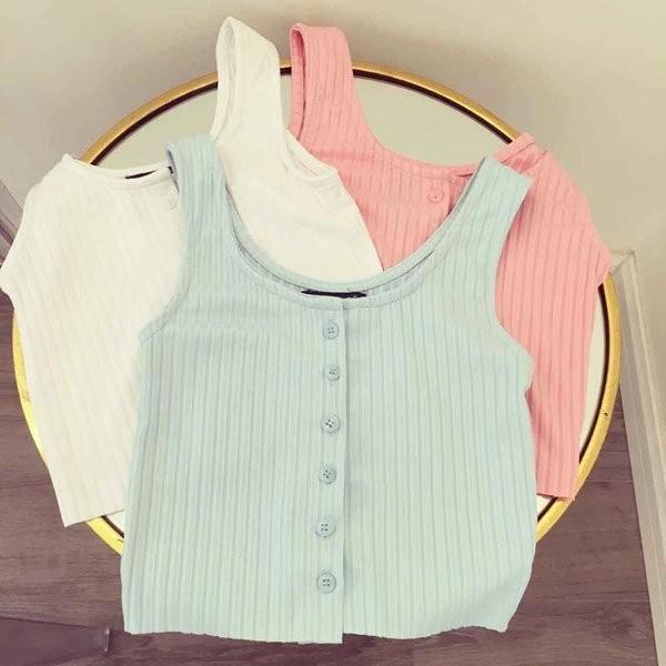 韓國 新品排扣棉質小清新短款修身背心吊帶藍綠色白色灰色黑色桔紅色粉紅粉綠 中