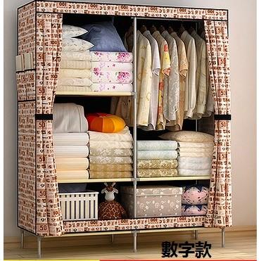加固加粗鋼管折疊大碼宜家衣櫥簡易雙人特大號牛津布衣櫃