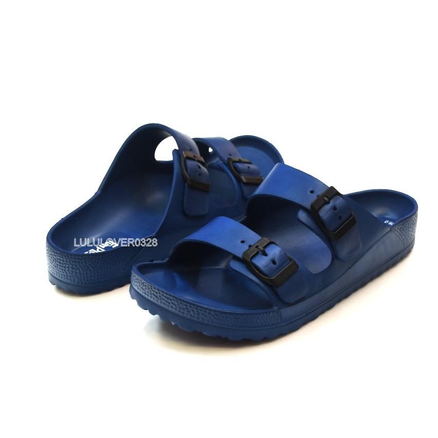 男款一體成型防水平板 休閒勃肯拖鞋Q 彈EVA 中底耐磨止滑厚度2 5 公分藍色