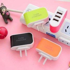 糖果色發光3USB 充 LED 指示燈插頭蘋果三星htc SONY 小米華為等智能手機