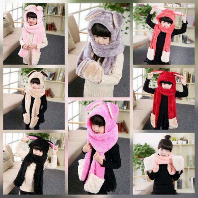 兒童多 圍巾帽子手套三合一保暖圍巾