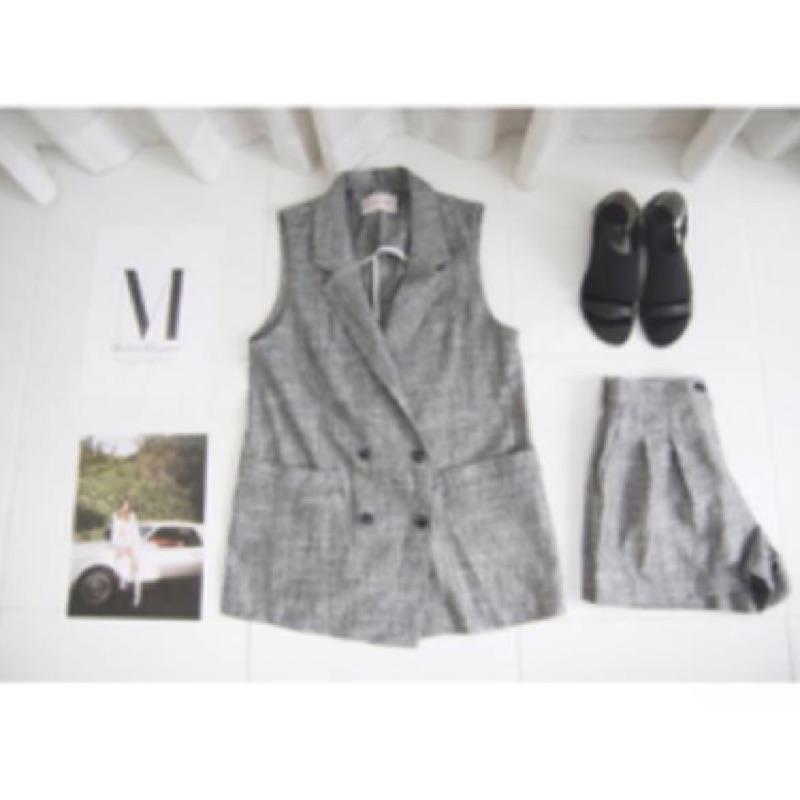 ᴴᴴᴷShan Shop 小香風馬甲外套修身亞麻裙褲休閒套裝