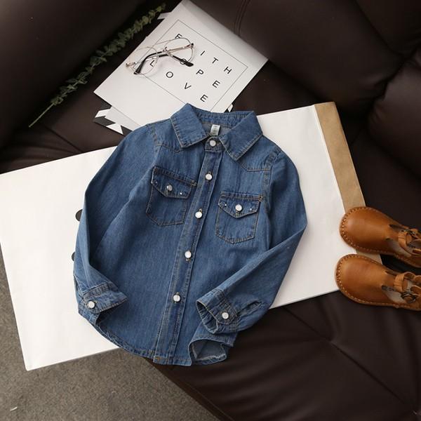 ~耐心等候~2017 女童春裝 牛仔襯衫薄款外套兒童歐韓範長袖打底衫上衣五