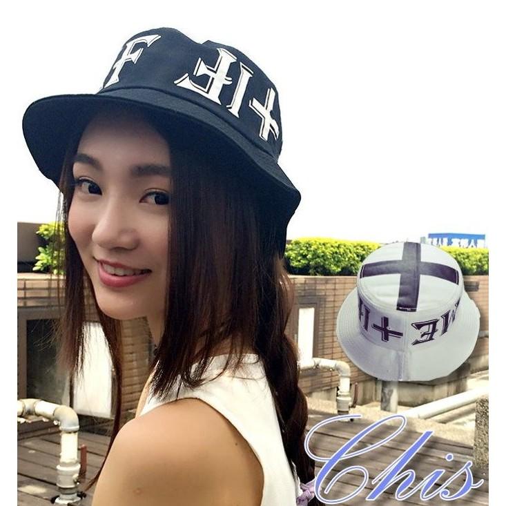 Chis Store ~帽頂十字架 盆帽~韓國 原宿風復古暗黑帥氣英文字母印花平頂漁夫帽遮