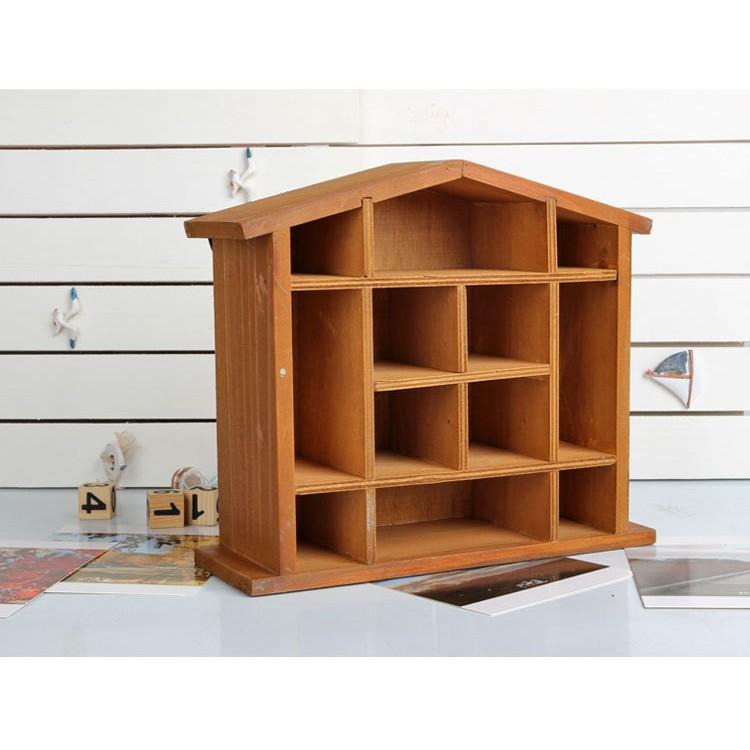 zakka 雜貨多格收納盒原木復古飾品展示盒房子 木櫃首飾盒飾品盒WLA17 C2