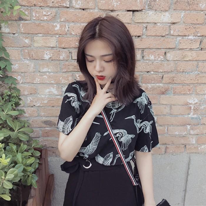 ღツ❈ ❈韓國ulzzang 女裝原宿復古寬松 短袖t 恤氣質學生 上衣潮條紋撞色翻領防曬
