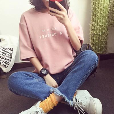 2017 女裝T 卹女夏 韓國大學T 簡約字母寬鬆大碼學生閨蜜短袖體恤