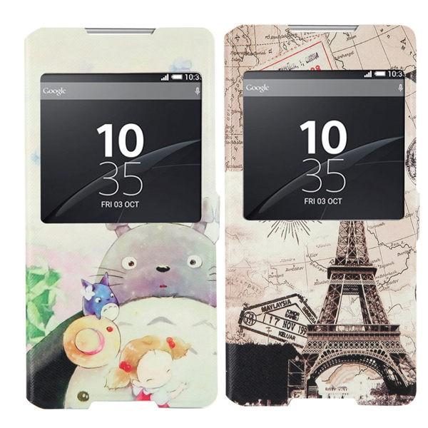 韓國彩繪開窗索尼xperia C5 Uitra 手機皮套C5 手機殼e5553 保護套翻盖